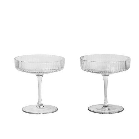 Ferm Living Champagne de vidrio transparente rizado Conjunto de vidrio de dos Ø10,5x11cm