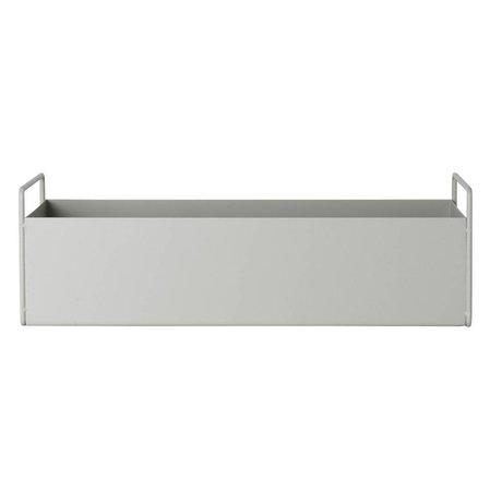 Ferm Living Kutu tesisi parlak gri metal S 45x14,5x17cm