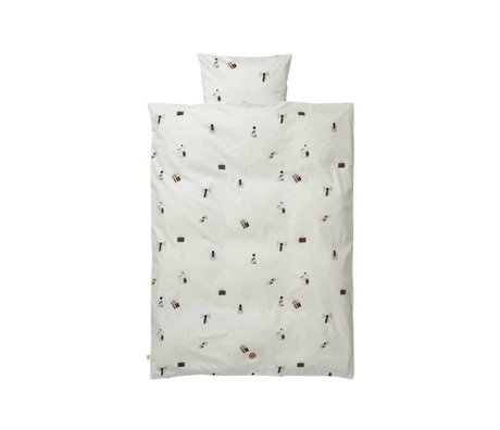 Ferm Living Baby sengetøj Party sæt hvid økologisk bomuld 70x100cm herunder pudebetræk 46x40cm