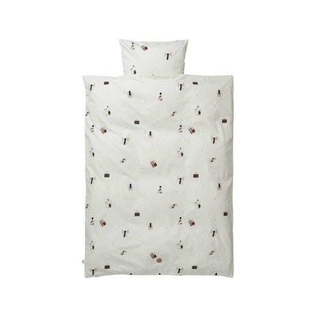 Ferm Living Bebek yatak Parti yastık kılıfı 46x40cm dahil beyaz organik pamuk 70x100cm Set
