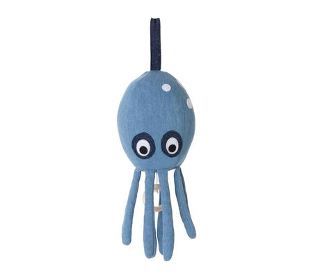 Ferm Living Musik Mobile Octopus blå denim bomuld 30x12cm