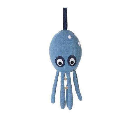 Ferm Living Musique mobile Octopus coton denim bleu 30x12cm