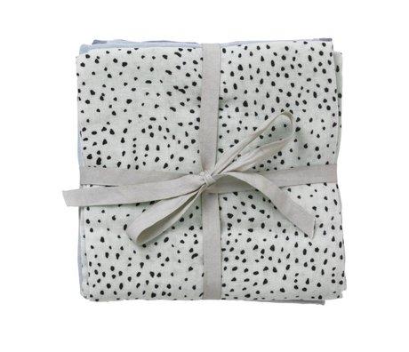 Ferm Living Hidrófilo muselina Dot Conjunto de 3 dot menta 70x70cm algodón orgánico