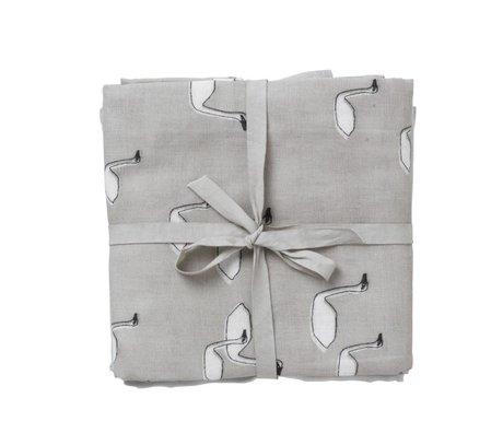 Ferm Living Hydrophilic muslin swan Set of 3 gray organic cotton 70x70cm