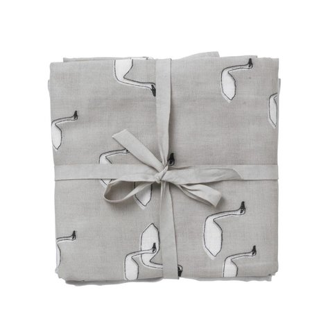 Ferm Living mousselines Swan Hydrophile Ensemble de 3 70x70cm en coton bio gris