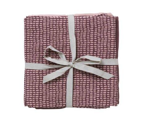 Ferm Living muselina hidrófila Juego de 3 gris oscuro rosa 70x70cm algodón orgánico