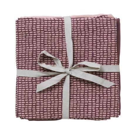 Ferm Living Hydrophile Musselin Set von 3 taupe rosa Bio-Baumwolle 70x70cm