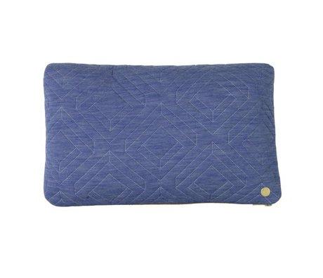Ferm Living Coussin Quilt lumière textile bleu 40x25cm