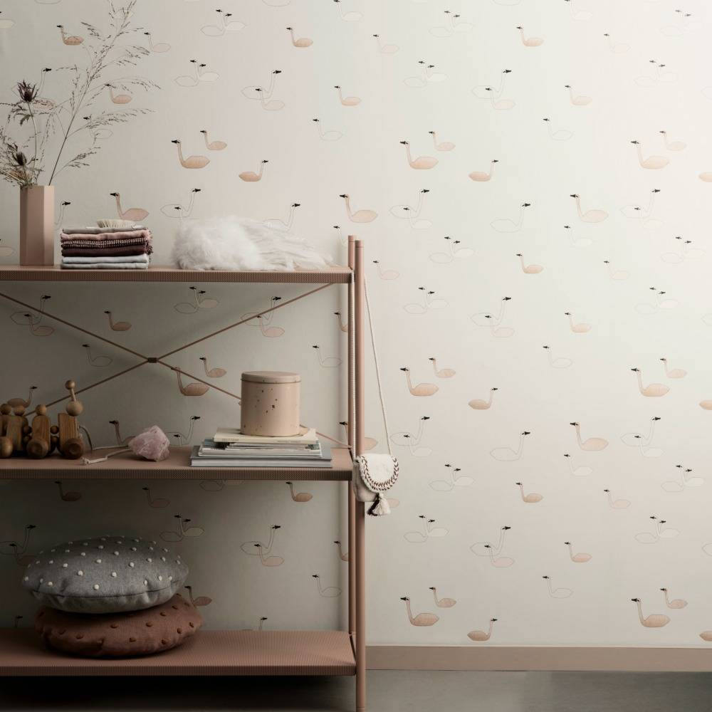 ferm living wallpaper swans pink paper 10x053m - Ferm Living Tapete