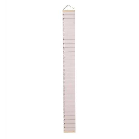 Ferm Living Groeimeter açık pembe kağıt 15x1,5x122cm ahşap