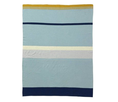 Ferm Living Baby blanket Little Stripy blue cotton, 80x100cm