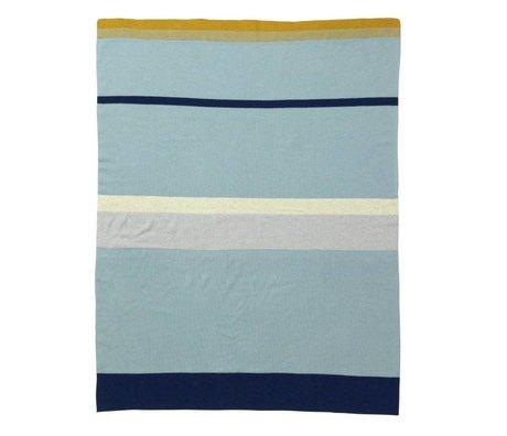 Ferm Living Kleine blaue Decke Streifen Baumwolle, 80x100cm