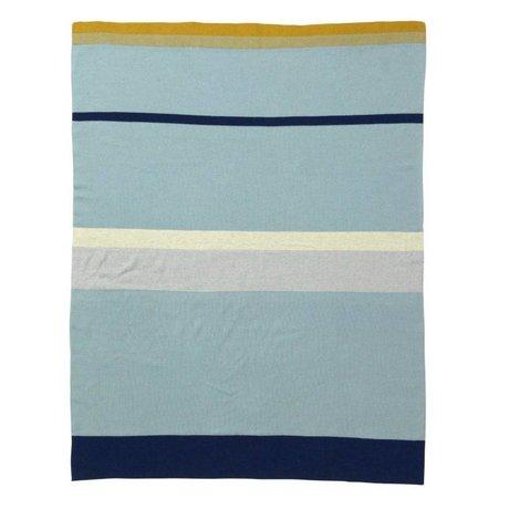 Ferm Living Petite couverture bleue en coton à rayures, 80x100cm