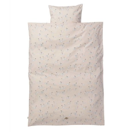 Ferm Living Children's bedding Swan junior set pink cotton 110x140cm incl. Cushion cover 46x40cm