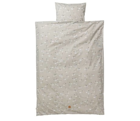Ferm Living Ropa de cisne adulto Set de algodón gris 63x60cm 140x200cm funda de almohada incluído