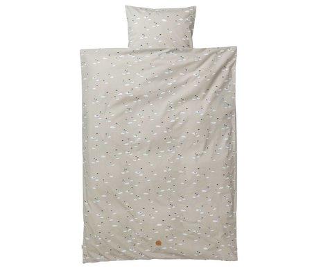 Ferm Living Children bedding Swan junior set gray cotton 110x140cm incl. Cushion cover 46x40cm