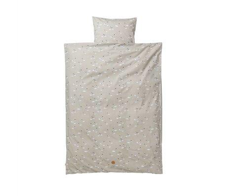 Ferm Living Baby bedding Swan Set gray cotton 70x100cm incl pillow cover 46x40cm