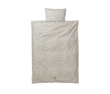 Ferm Living Cisne lecho del bebé 70x100cm Set de algodón gris incluyendo funda de almohada 46x40cm