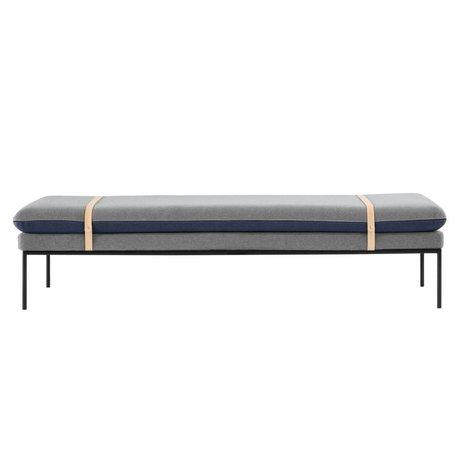 Ferm Living Bank Drej daybed blå grå tekstil 190x42x80cm