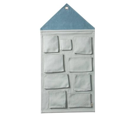 Ferm Living Casa pared de almacenamiento de polvo de algodón azul 50x98cm