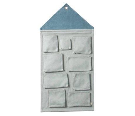 Ferm Living Wall House stockage poussiéreux coton bleu 50x98cm