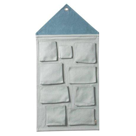 Ferm Living Wall Storage House dusty blue cotton 50x98cm