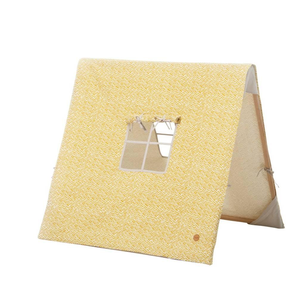 Ferm Living Kinder-Zelt Wave gelb Baumwolle Holz 100x100xcm ...