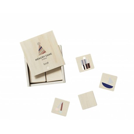 Ferm Living Memory Game Party multicolor plywood 12x12x4cm