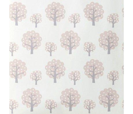 Ferm Living Papel pintado Dotty rosa gray de papel 10x0,53m