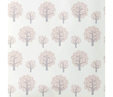 Ferm Living Tapet Dotty rosa gråt papir 10x0,53m