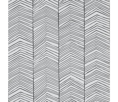 Ferm Living Carta da parati a spina di pesce Carta nera 10x0,53m bianca