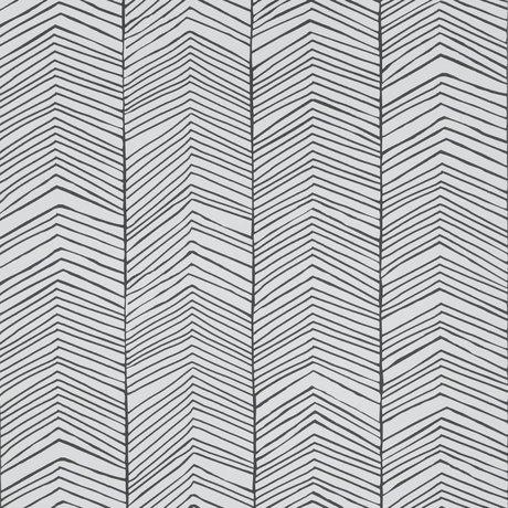 Ferm Living Tapet Sildeben Sort hvidt papir 10x0,53m