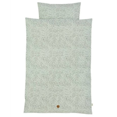 Ferm Living Dot Junior Set mint green Bio cotton 100x140cm incl. Cushion cover 46x40cm