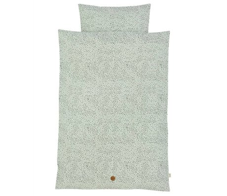 Ferm Living Linge Dot adulte Set coton bio vert menthe 140x200cm incl taie 63x60cm