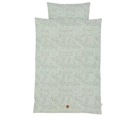 Ferm Living Lino Dot adulto Impostare verde menta cotone organico 140x200cm incl federa 63x60cm