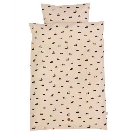 Ferm Living Tavşan bebek yatak yastık kılıfı 46x40cm dahil pembe organik pamuk 70x100cm set
