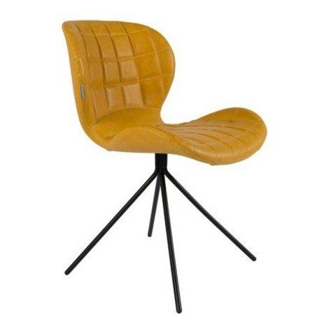 Zuiver silla de comedor OMG LL imitación de cuero amarilla 51x56x80cm