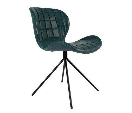 Zuiver Chaise de salle OMG LL bleu pétrole en cuir artificiel 51x56x80cm