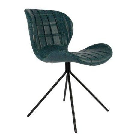 Zuiver Yemek sandalye OMG LL benzin mavi suni deri 51x56x80cm