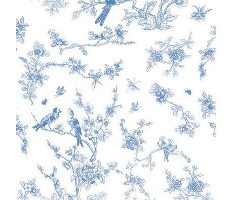 Kek Amsterdam Çözünürlükte Kuşlar ve çiçeklenme mavi ipek kağıt 97,4x280cm