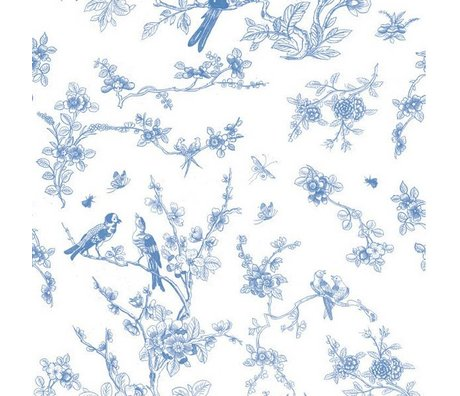 Kek Amsterdam Fondos de Aves y floración de papel de seda azul 97,4x280cm