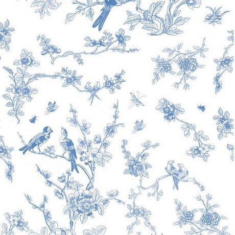 Kek Amsterdam Fonds d'écran Oiseaux et fleurs papier tissu bleu 97,4x280cm