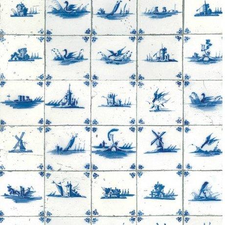 Kek Amsterdam Wallpaper king blue tile blue non-woven paper 97.4x280cm
