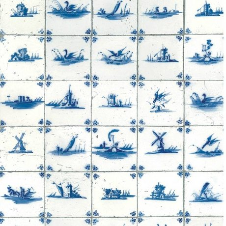 Kek Amsterdam Wallpaper reali piastrelle blu tessuto carta blu 97,4x280cm