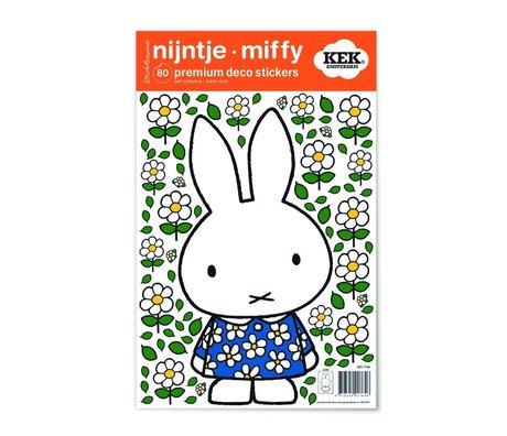 Kek Amsterdam Etiqueta de la pared Miffy vestido de flores multicolor de vinilo S 21x33cm