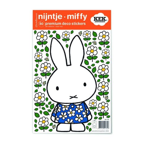 Kek Amsterdam Wall Sticker Miffy blomst kjole flerfarvet vinyl S 21x33cm