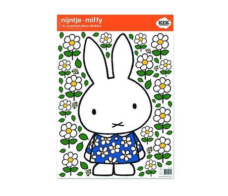 Kek Amsterdam vestido de flores etiqueta de la pared Miffy multicolor 42x59cm película de vinilo M