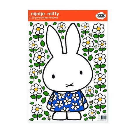 Kek Amsterdam Duvar Sticker Miffy çiçek elbise çok renkli vinil filmi M 42x59cm