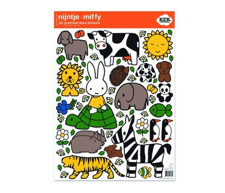 Kek Amsterdam Etiqueta de la pared Miffy amantes de los animales multicolor 42x59cm vinilo M