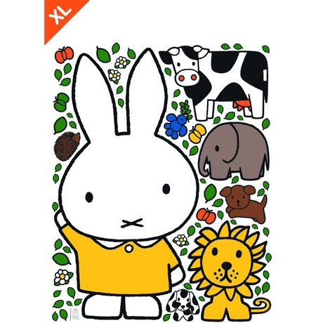 Kek Amsterdam Wall Sticker Miffy robe jaune multicolor vinyle XL 95x120cm
